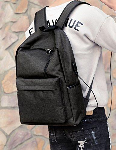 Leichter Canvas Laptop Rucksack Mit USB Ladeport Schule Rucksack Reise Daypack Fit 15 Zoll Laptop(0221) (Schwarz) Schwarz CIsMAk