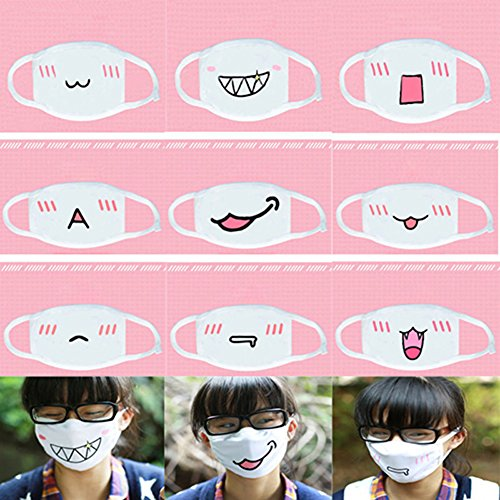 Quietcloud Face Mouth Mask, Lovely Anime Kawaii Mouth-Muffle Smile Grin Kaomoji Anti-dust Cotton Face Mask - #9 Miao by Quietcloud (Image #2)