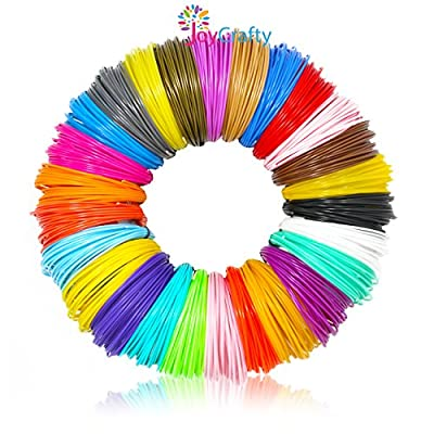 JoyCrafty 26pc 3D Pen Filament Refills - 1.75mm ABS 520 Linear Feet (20 foot each) Total 26 Different colors fun pack. 6 Glow In The Dark Colors FREE Stencils eBook