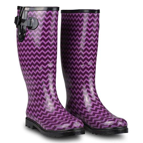 Twisted Womens Drizzy Tall Cute Rubber Rain Boots Pink/Black Chevron nrGJL5Pu