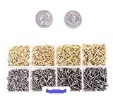 Mini Skater M2 Micro-Screws Cross Flat Head Self Tapping Wood Screws Fastener Kit and Assortment, Wooden Furniture Box Hardware Accessories (1600PCS,Golden and Silver)