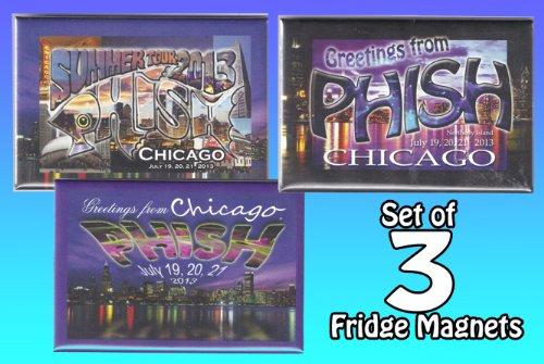 PHISH CHICAGO 2013 FRIDGE MAGNETS SET OF 3 RARE NOT HAT SHIRT PIN POSTER VINYL LP