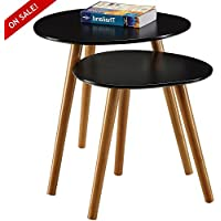 Simplistic End Table Set Of 2 Nordic Scandinavian Style Coffee Table Mid Century Contemporary Simple Modern Nesting Tables For Living Room Sturdy Classic Minimal Furniture Black And eBook By NAKSHOP