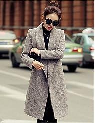 GS~LY Women's Vintage Coat,Solid Shirt Collar Long Sleeve Winter Red / Gray / Purple Wool / Others Medium , fuchsia-3xl , fuchsia-3xl