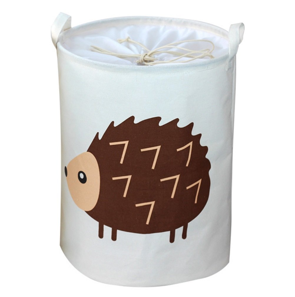 Kid's Laundry Hamper Bag Hedgehog Elephant Tortoise Triceratops Animal Girl's Collapsible laundry toy Bags Children's Toys Storage Folding Cylinder Laundry Basket Box Organizer Sorter (Hedgehog)