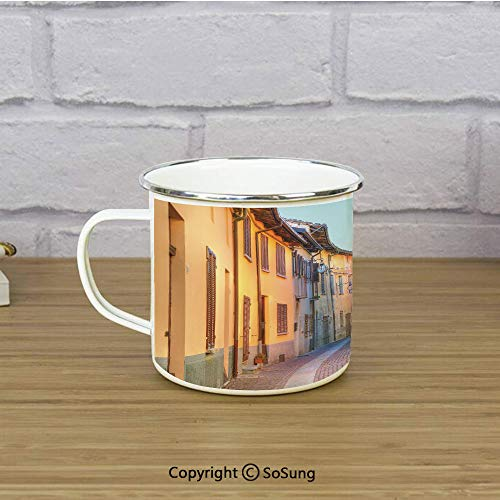 (Italy Enamel Camping Mug Travel Cup,Narrow Paves Street Among Old Houses in Town Serralunga DAlba Piedmont Decorative,11 oz Practical Cup for Kitchen, Campfire, Home, TravelPale Orange Brown Pink )