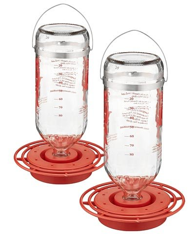 2 Pack of Best-1 Glass Hummingbird Feeders, 32 oz. Each