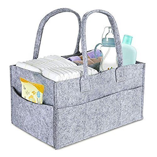 DollyBoba Baby Diaper Caddy | Nursery Diaper Tote Bag | Large Portable Car Travel Organizer | Boy Girl Diaper Storage Bin for Changing Table | Baby Shower Gift Basket | Newborn Registry Must Haves