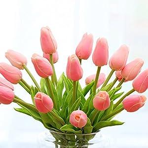Montout 12PCS/Set PU Stunning Holland Tulip Flower Real Touch Artificial Silk Flowers Arrangement Bouquet Home Room Office Wedding Party Decor (Pink) 4