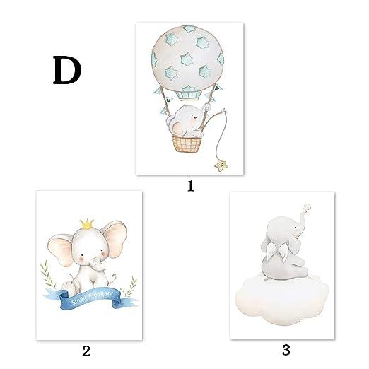 Fran Juego de 3 Cuadros Infantiles Creativo Caricatura Animal Impresiones sobre Lienzo Decoraci/ón Habitaci/ón Beb/é Pared Regalo