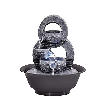 Simple geométrica pecera Adornos de Sala de Estar Cascada Fuente de Agua característica Craft Escritorio decoración Adornos (Color : 21.5 * 21.5 * 24.5cm): ...