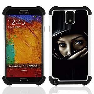 For Samsung Galaxy Note3 N9000 N9008V N9009 - Helmet Biker Chick Girl Woman Black /[Hybrid 3 en 1 Impacto resistente a prueba de golpes de protecci????n] de silicona y pl????stico Def/ - Super Marley Sho
