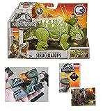 Jurassic World Roarivores Sinoceratops (Pachyrhinosaurus) Figure + One Premium Trading Card. Bundle Set of 2 Items