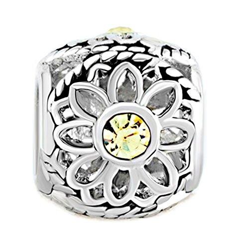 Joshua Home Jewelry Open Daisy Plant Charm Fit Bracelet With CZ DIY Accessories Jewelry