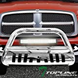 05 dodge ram grill guard - Topline Autopart Polished Stainless Steel Bull Bar Brush Push Bumper Grill Grille Guard With Skid Plate + 120W Cree LED Fog Light 02-09 Dodge Ram 1500 / 2500 / 3500 ; 06-09 1500 Mega ( Extended Crew )