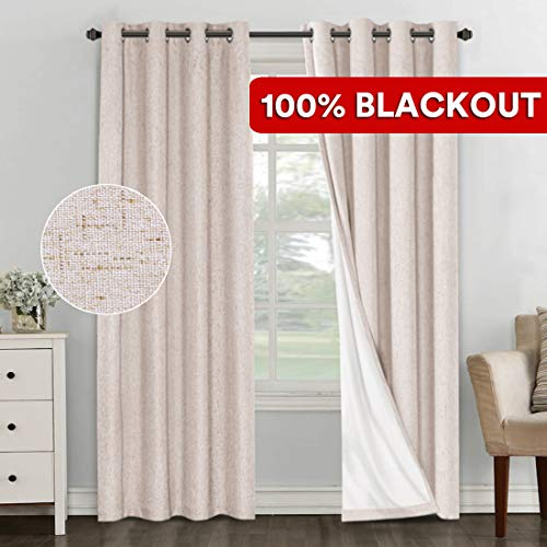 PrimeBeau 100% Blackout Thermal Insulated Curtains/Drapes/Draperies, Luxury and Thick Linen Energy Efficient Curtains for Bedroom/Sliding Glass Door Extra Long 108 Inches, Natural, 2 Panels (Creative Window Treatments For Sliding Glass Doors)