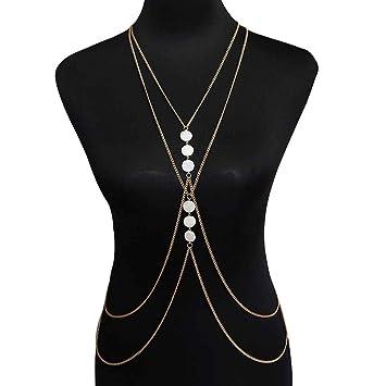 Laileya Frauen Crossover Shell-Körper-Kette Halskette-Dame Elegant-Körper-Kette