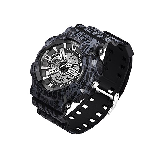 Mens Multifunction Analog - Waterproof Men's G Type Analog Digital Date Army Camo Sports Wrist Watch (black)