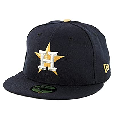 New Era 5950 Houston Astros Gold Patch Fitted Hat World Series Champions Cap