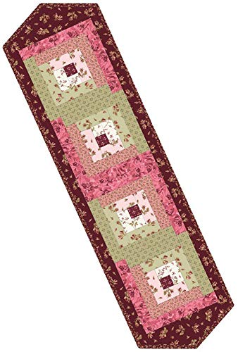 Burgundy & Blush Log Cabin Table Runner Pod Quilt Kit Maywood Studio