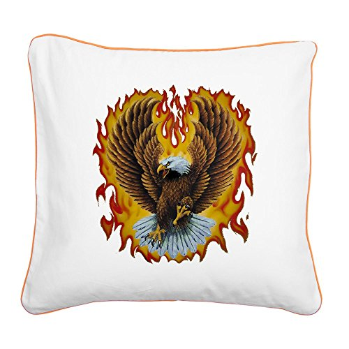 - Square Canvas Throw Pillow Orange Eagle with Flames
