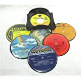 IT'S OUR EARTH Recycled Vinyl Record Drink Coasters Gift Set of 6 with Coaster Caddy