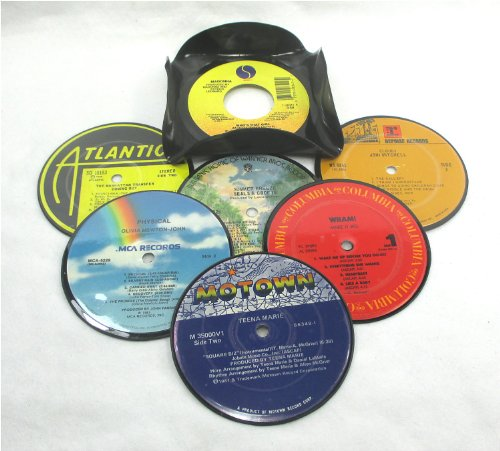 It's Our Earth Recycled Vinyl Record Drink Coasters Gift Set of 6 with Coaster (Recycled Vinyl Record)