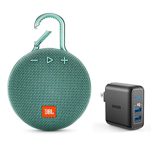 JBL Clip 3 Portable Bluetooth Wireless Speaker Bundle with Dual Port 24W USB Travel Wall Charger - Teal