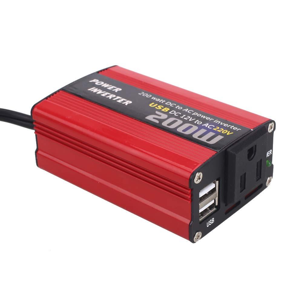 Cargador para convertidor de Corriente para autom/óvil con tomacorriente de CA Universal Interfaz USB Doble Encendedor de Cigarrillos 400W Inversor de Corriente DC 12V a 220V AC Rosepoem 200W