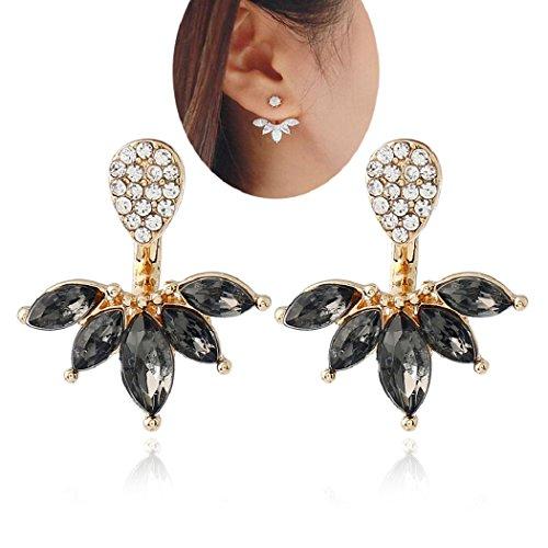 Lady Clear Crystal Leaf Feather Ear Jacket Earrings Back Ear Cuffs Stud Earrings for Women SUNSCSC (Black & (Black & Gold Leaf Earrings)