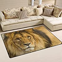 DEYYA Custom Print Non-slip Area Rugs Pad Cover 31x 20 Inch, Animal Lion Pattern Throw Rugs Carpet Modern Carpet for Home Dining Room Playroom Living Room Decoration
