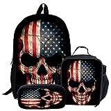 Cartoon Skull Backpack for Boy School Bag for Teens Lunch Box Pencil Case 3Pcs