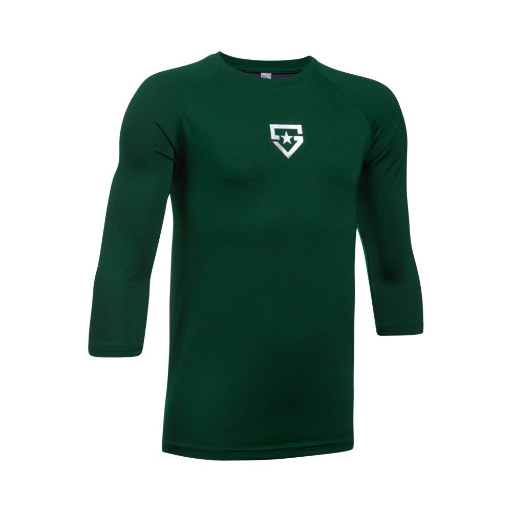 Boy's Under Armour Boys' Heater 3/4 sleeve T-Shirt, Forest Green (301)/Silver, Youth Small by Under Armour