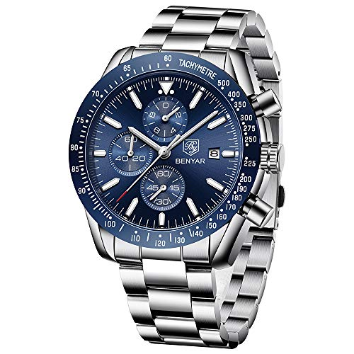 Mens Waterproof Chronograph Analog Watch-BENYAR Luxury Business Dress Stainless Steel Strap Watch Perfect for Birthday Gift