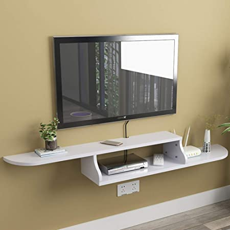 TriGold Flotante TV Mueble,2 Madera De Nivel Pared Consola para TV Entretenimiento Moderno Almacenamiento para Set-Caja De Cable Superior Blanco 120x20x12cm(47x8x5inch): Amazon.es: Hogar