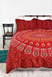 Indian Queen Size Mandala Duvet Cover Handmade Red Color Dona Cover set 3 pcs