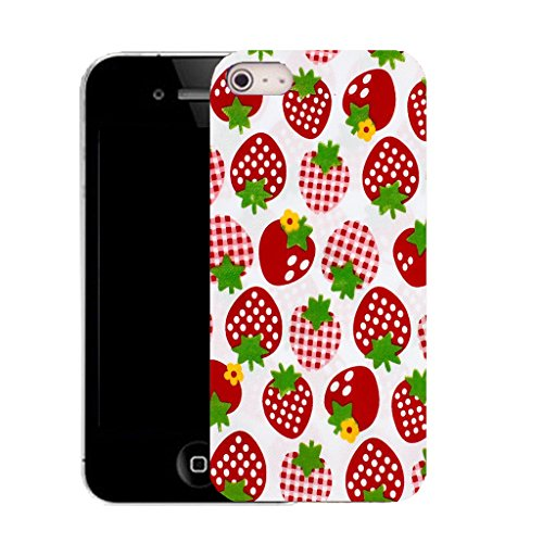 Mobile Case Mate IPhone 4 clip on Silicone Coque couverture case cover Pare-chocs + STYLET - strawberry pattern (SILICON)