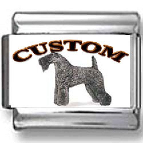 Terrier Kerry Dog Blue Charm (Kerry Blue Terrier Dog Custom Photo Italian Charm)