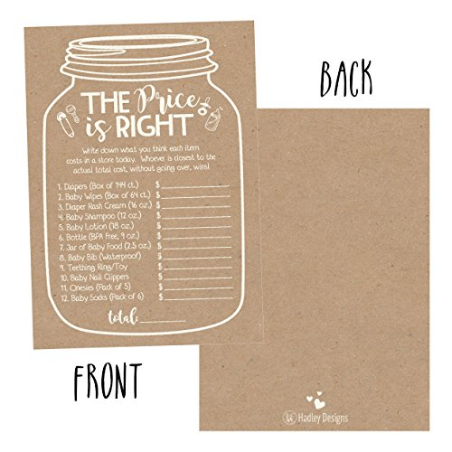 25 Rustic Guess If The Price is Right Baby Shower Game Ideas for Boys Girls Fun Party Activities Cards Best Gender Neutral Reveal Guessing Funny Questions Bundle Pack for Couples Decorations Supplies by Hadley Designs (Image #2)