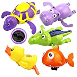 WenToyce 5 Pack Pool Float Bath Toys, Wind Up Swimming Bathtub Animals for Boys Girls Toddlers, Fish + Tortoise + Hippocampus + Crocodile + Duck, Smooth Cute Appearance (Random Color)