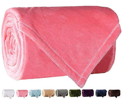 LBRO2M Fleece Bed Blanket Super Soft Warm Fuzzy Velvet Plush Throw Lightweight Cozy Couch Blankets King(104-Inch-by-90-Inch) Pink