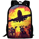 CY-STORE Passenger Airplanes Takeoff Painting Art Print Custom Casual School Bag Backpack Travel Daypack Gifts