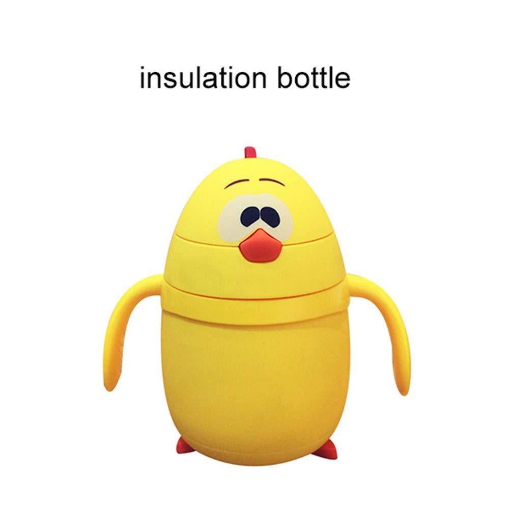 Pollo de dibujos animados Beb/é Aislamiento Botella Botella de vidrio para el agua Ni/ños port/átil Taza de Paja Regalo creativo 2 Estilo Copas para beber botella de vidrio