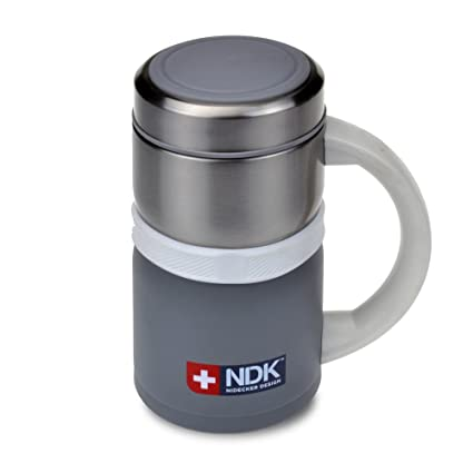 Smart Planet NDK Nidecker Designs Deluxe 18 oz 18/8 Stainless Steel  Insulated Vacuum Mug, Gray
