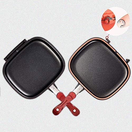 Oiuytghjkl 28 cm Double Face Barbecue poêle poêle INOX Pot Double Face