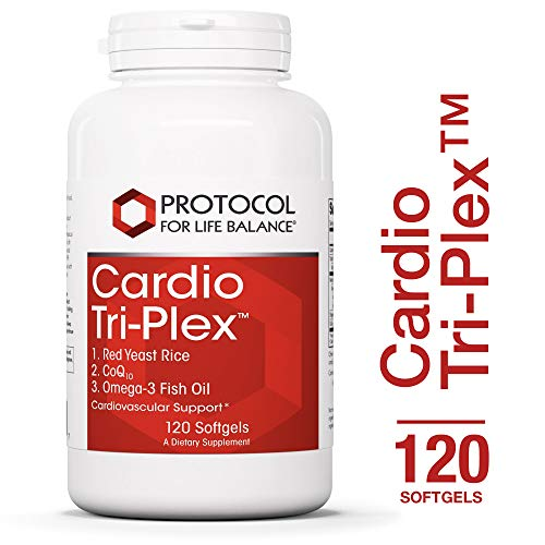 Protocol For Life Balance – Cardio Tri-Plex – Red Yeast Rice, CoQ10 and Omega-3 Rich Fish Oil for Cardiovascular Support, Cognitive Brain Function, Healthy Heart – 120 Softgels