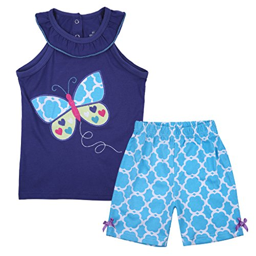 Meeyou Little Girls' Lovely Tank top & Essential Shorts Set(Colorful Butterfly, 4T) (Butterfly Short Set)