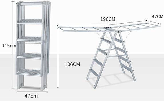 Zaixi Tendedero para Ropa, Escalera Plegable Multifuncional, Rack de Secado para lavandería, Interior/Exterior, Oro Plata yijia (Color : La Plata): Amazon.es: Hogar