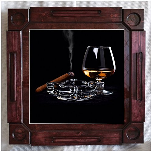 Wooden/wood dominoes/domino table/mesa-custom made-Cigar/Tabaco & Rum artwork-Solid Wood