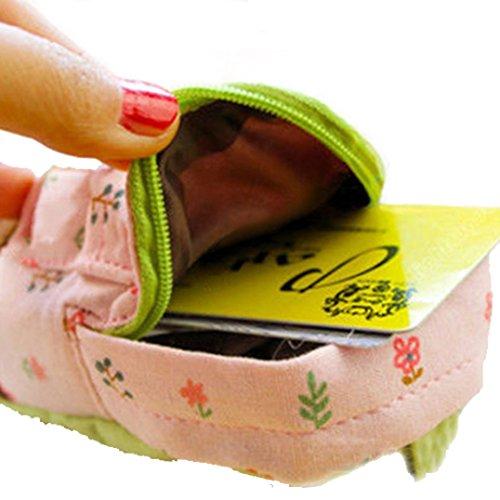 Polytree Women's Canvas Backpack Coin Card Zipper Wallet (Pink)